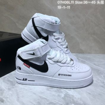 KUYOU N940 Supreme x The North Face x Nike Air Force 1 Mid Causal Skate Shoes White Black