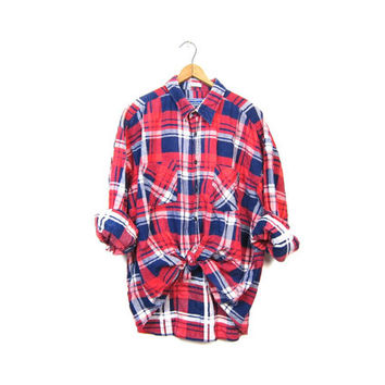 80s Plaid Flannel Shirt Red Grunge Boyfriend Shirt Oversized Button Up Hipster Worn In Mens Blue White Flannel Shirt Vintage XL Large