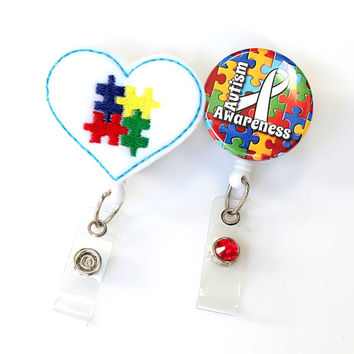 Autism Awareness Gift Set - Felt Badge Pulls - Teacher ID Badge Clip - Badge Holders - Teacher's Aid Gifts - Special Education - BadgeBlooms