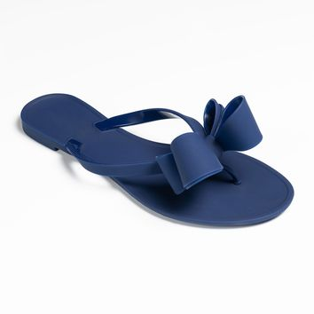 Bow Navy Jelly Flip Flop Sandals