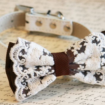 Brown Dog Bow Tie, Country rustic wedding, Pet wedding accessory,Wedding accessory, Victorian wedding, Dog Lovers