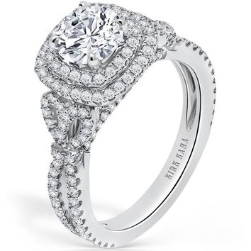 "Kirk Kara ""Pirouetta"" Double Halo Diamond Engagement Ring"