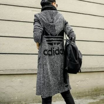 ADIDAS Hooded sweater knit grey cardigan Dark grey