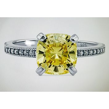 A Perfect 2CT Fancy Yellow Solitaire Cushion Cut Russian Lab Diamond Ring with Pave Diamond Accents