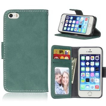 For iPhone SE 5s 5 Phone Cases Matte Skin Vintage Wallet Leather Stand Phone Shell for iPhone SE Cover - Green