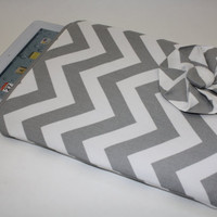 Gray & White Chevron iPad Case by AlmquistDesignStudio