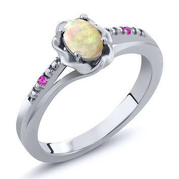 Cabochon White Ethiopian Opal Pink Sapphire 925 Silver Ring