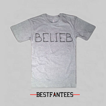 Belieber Justin Bieber Tee Shirt - Fans Belieb Believe Believer Hollywood heather gray Crewneck Clothing tshirt top 019