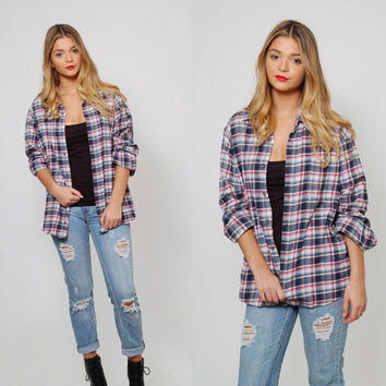 Vintage 90s PLAID Flannel Shirt Unisex Button Down Plaid Shirt Boyfriend Shirt Long Sleeve Grunge Button Up