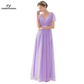 Elegant Light Purple Long Bridesmaids Dresses Cheap V-Neck Draped Chiffon In Stock Vestidos De Madrinha Under 50 2017 New