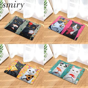 Smiry Light, Soft, Cute & Funny Cartoon Cats Eating Food Pattern Rugs