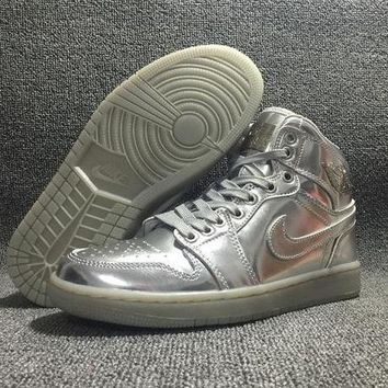 DCCKJG2 NIKE AIR JORDAN Retro High Private Custom silver Sports Basketball Shoes