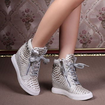 Fashion Wedges Sneakers For Women Serpentine Pattern Genuine Leather High-top Casual Shoes Punk boots