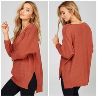 High Low Sweater in Rust