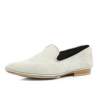 River Island MensStone nubuck leather slip on shoes