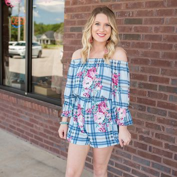 Blue Checkered Floral Romper