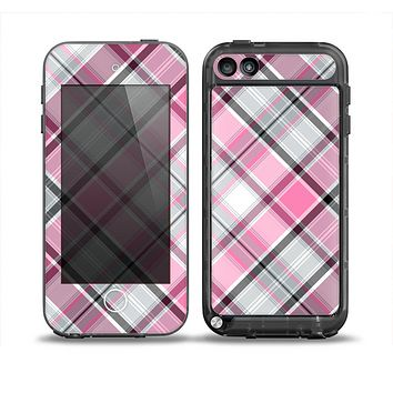 The Black and Pink Layered Plaid V5 Skin for the iPod Touch 5th Generation frē LifeProof Case