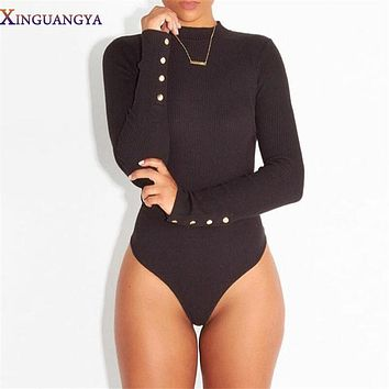 Rompers Womens Jumpsuit 2017 Winter Sexy Women Bodysuit Turtleneck Longsleeve Rompers Black Gray Bodycon Female Bodycon Overalls
