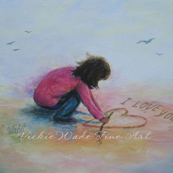 I Love You Beach Girl Art Print brunette beach girl writing I Love You heart in sand valentine wall art pink, Vickie Wade art
