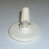 Mercury Mist Topaz Ring With Natural White Topaz Gemstones Sterling Silver .925