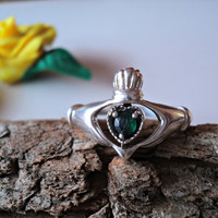Irish Claddagh Ring Sterling Silver 925 Green Crystal Reversible Gold Heart Celtic Symbol of Love and Friendship Vintage Gift for Her