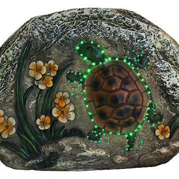 Outdoor Garden Stone - Green Led Lights Flash On And Off To Create Movement Illusion