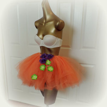 Adult tutu, halloween tutu costume. rave raver outfit, adult tutu dress, orange purple green, sexy womens costume, goth outfit