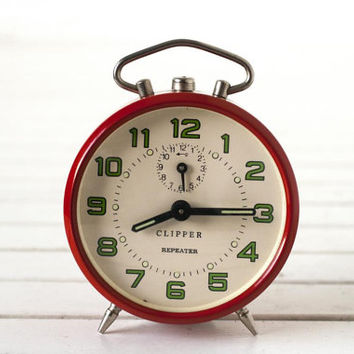 Vintage German Alarm Clock- Red and Cream Clipper Repeater