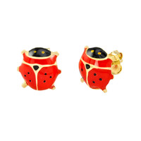 10k Yellow Gold Lady Bug Stud Earrings Hand Painted Red and Black 8x8