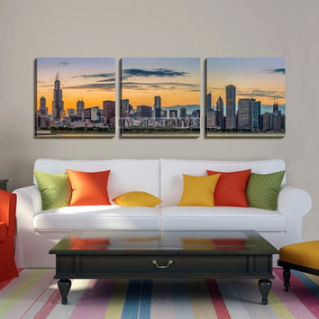 Large Wall Art CHICAGO Canvas Print - Chicago Downtown Skyline and Lake Michigan at Sunset