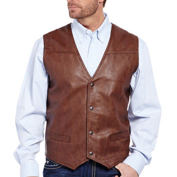 Faux Leather Snap Front Vest With Flannel Lining