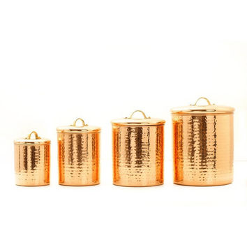 Old Dutch Hammered Copper 4-piece Canister Set | Overstock.com Shopping - The Best Deals on Storage Canisters