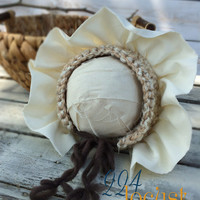 Bonnet, Cream Bonnet, Baby Bonnet, Newborn to 6 Months, Photo Prop, Photography Prop