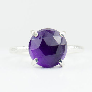 Amethyst Ring - February Birthstone - Purple Stacking Ring - Silver  Ring - Round Ring - Prong Set Ring  - Size 3 4 5 6 7 8 9 10