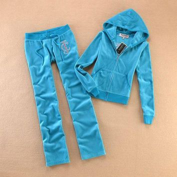 PEAP2Q Juicy Couture Studded Logo Crown Flower Velour Tracksuit 8604 2pcs Women Suits Blue
