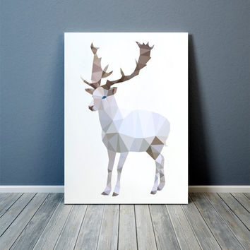 Colorful print Modern decor White Deer art Animal poster TOA75