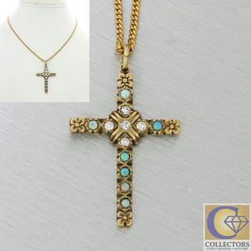 1880s Antique Victorian Estate 10k Gold Fire Diamond Opal Cross Pendant Necklace