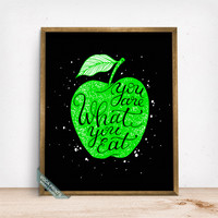 You Are What You Eat Print, Typography Poster, Quote Print, Diet Print, Wall Print, Wall Art, Dorm Decor, Kitchen Decor, Fathers Day Gift