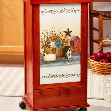 Rolling Trash Bin with Storage Drawer Country Sunflower or Wine Themed