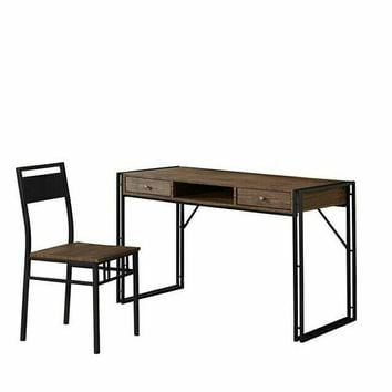 2 pc Patricia collection weathered chestnut finish wood desk and chair