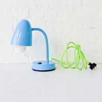 30% SALE - Retro Industrial Gooseneck Desk Table Lamp in baby Blue with Neon Yellow Green Cord