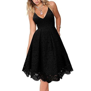 Black Lace V Neck Backless A-Line Cocktail Homecoming Dress