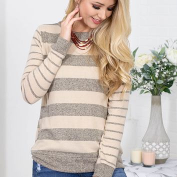 Oatmeal Striped Stretchy Top
