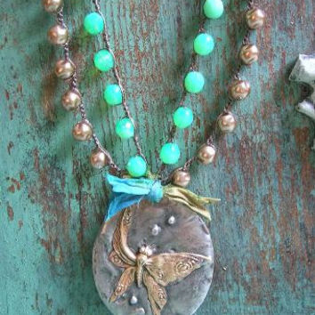 "Butterfly pendant crochet necklace ""Flutter"" boho jewelry OOAK bohemian necklace pearls aqua green, vintage inspired, silver, spoon"