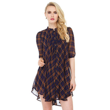 Plaid Chiffon Three-Quarter Sleeve Pleated Mini Dress