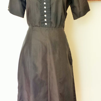 Vintage 1940s Black Taffeta Dress, with Square Neckline and Buttons