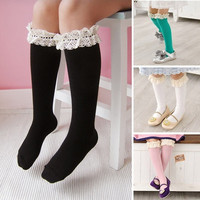 Lovely Kids Baby Girls High Knee Lace Socks Cotton School Stocking Tights Warmer Leggings New Style = 1646019588