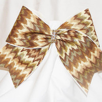 Cheer bow- Gold cheveron pattern with gold glitter and gold rhinestone center. Cheerleader bow- cheerleading bow - dance bow