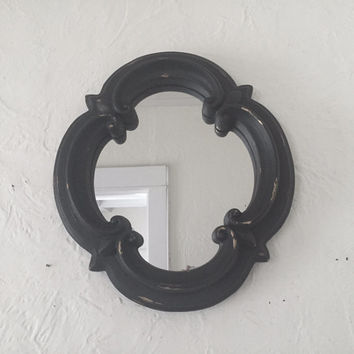 Mirror, black distressed, chunky, Fleur de lis, accent wall hanging