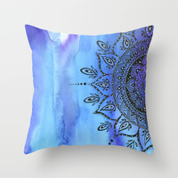 Blue MANDALA Throw Pillow by Li Zamperini